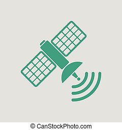 Satellite icon. Gray background with green. Vector...