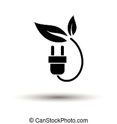 Electric plug leaves icon. White background with shadow...