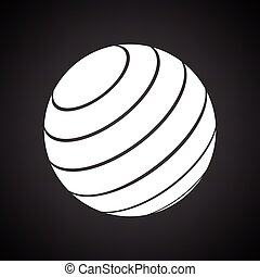 Fitness rubber ball icon. Black background with white....