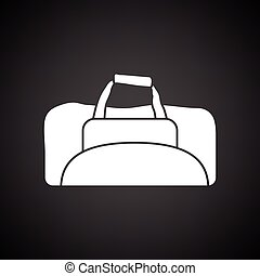 Fitness bag icon. Black background with white. Vector...