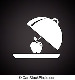 Apple inside cloche icon Black background with white Vector...