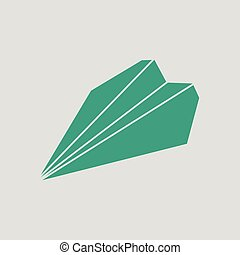 Paper plane icon Gray background with green Vector...