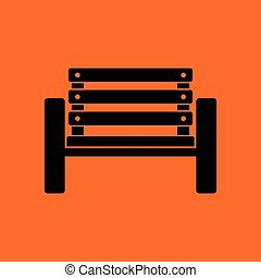 Tennis player bench icon. Orange background with black....
