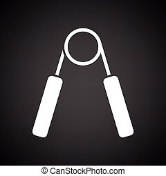 Hands expander icon. Black background with white. Vector...