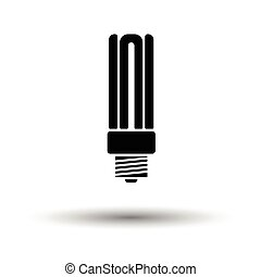 Energy saving light bulb icon. White background with shadow...