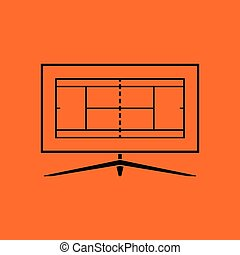 Tennis TV translation icon. Orange background with black....