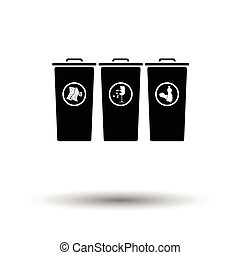 Garbage containers with separated trash icon White...