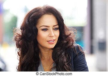 Beautiful business woman - Close up portrait of beautiful...
