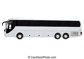 Modern three-axle bus. - Modern three-axle bus isolated on...