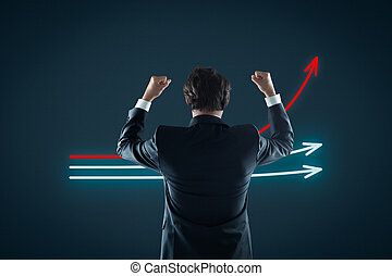 Benchmarking and market leader concept. Manager...