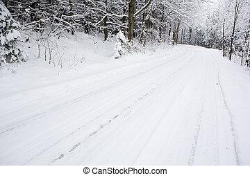 snowy road, Czech Republic