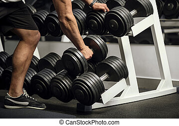 Close up of dumbbells lying in a row - Sports equipment in...