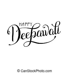 black and white hand lettering inscription Happy Deepawali...