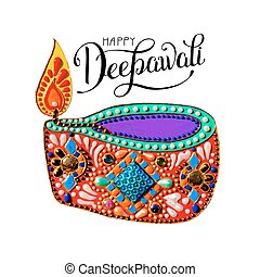 original greeting card to deepavali festival with diya...