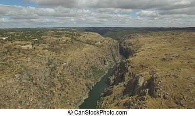 Aerial view side to cliff in Duero River, Spain - Deep in...