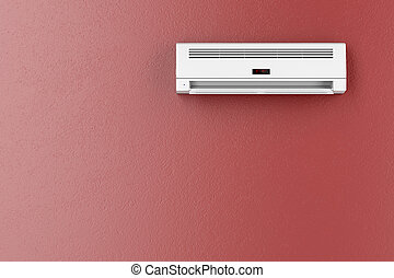 Air conditioner on red wall - Split-system air conditioner...