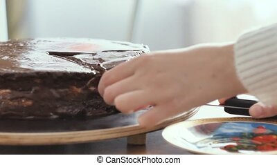 girl cuts a piece of chocolate cake, and puts it on a plate...