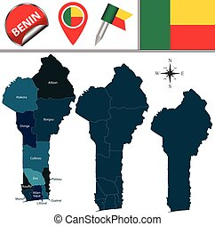 Map of Benin with Named Departments - Vector map of Benin...