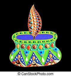 original painting with jewels and pearls of diwali lantern diya,