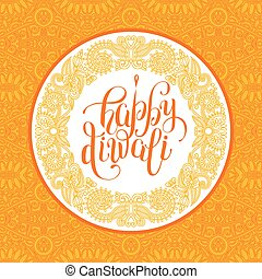Happy Diwali greeting card with paisley ornamental...