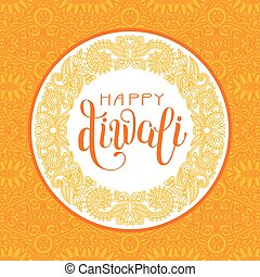 Happy Diwali greeting card with circle ornamental background...