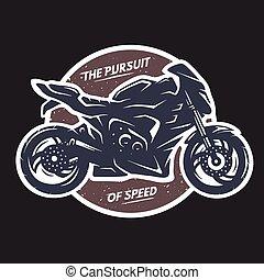 Sport superbike motorcycle emblem. - Sport superbike...
