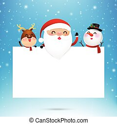 Merry christmas santa claus cartoon and blank paper with copyspace on snow background vector illustration eps10 001