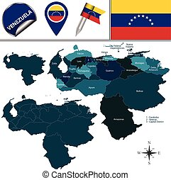 Map of Venezuela with Named States - Vector map of Venezuela...