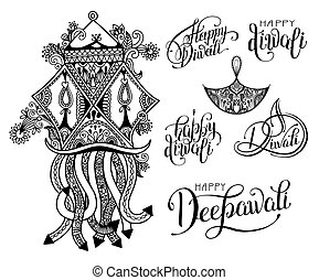 set of black and white hand drawing design element lettering...