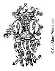 black and white sketch drawing of ornamental traditional...
