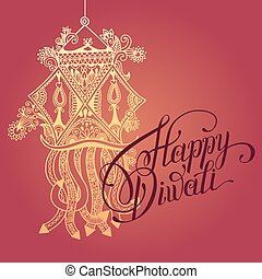 Happy Diwali greeting card with paisley ornamental candle...
