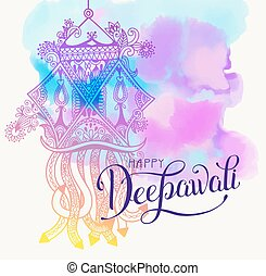 Happy Deepawali watercolor greeting card to indian fire...