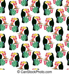 Tropical plants with toucan bird of