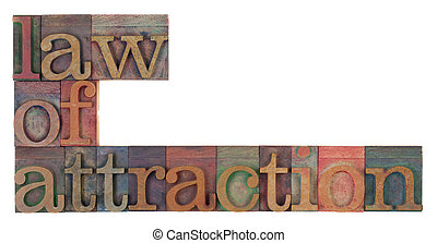 law of attraction words in vintage wooden letterpress...