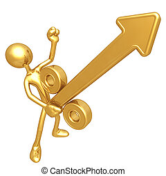 Gold Guy Growing Percentage Arrow - A Concept And...
