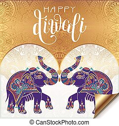 Happy Diwali gold greeting card with hand written...