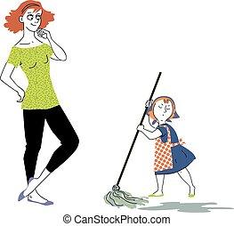 Little helper - Happy woman looking at a little girl,...