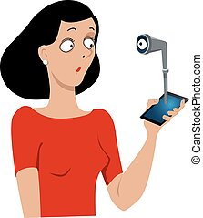 Watching you - An eye looking at a woman through a periscope...