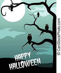 Spooky tree and owls. Halloween poster design