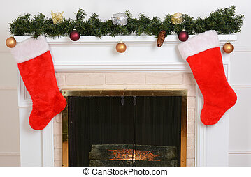 closeup santa stockings fireplace - closeup santa stockings...
