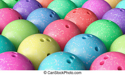 Close up on Array of Tightly Packed, Colorful Bowling Balls