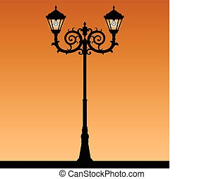 Street light - Vintage street light. The black silhouette of...