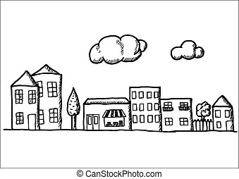 Hand drawn doodle town. Black and white pen objects . Design...