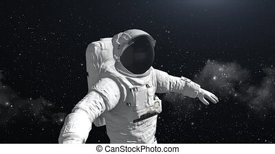 Astronaut in space looking at the ground HD