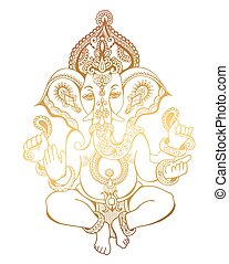 hindu lord ganesha ornate sketch drawing, tattoo, yoga,...