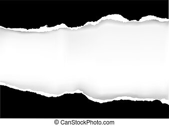 Black ripped paper - Illustration of black ripped paper with...
