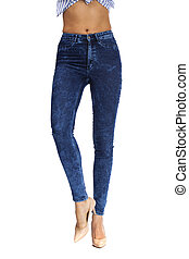 Female body part denim jeans, front view, inner thigh,...