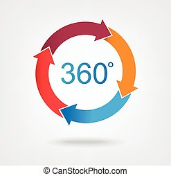 4 part arrow wheel chart icon for infographic design