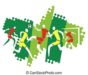 Football players - Five soccer players in action. Vector...