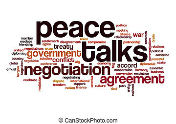 Peace talks word cloud concept
